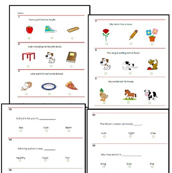 Reading Test for IOWA or STANFORD (K or First Grade)