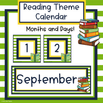 Reading Theme Classroom Calendar - Editable