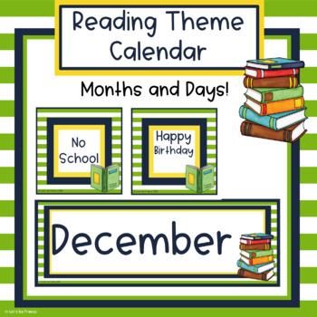 Reading Theme Classroom Calendar - Editable