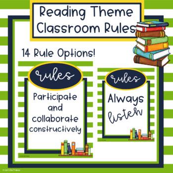 Reading Theme Classroom Rules - Editable