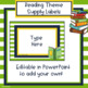 Reading Theme Classroom Supply Labels - Editable