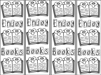 Reading Theme Coloring Bookmarks