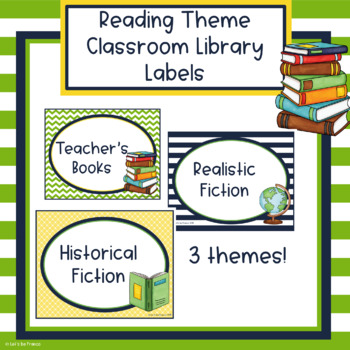 Reading Theme Library Book Bin Labels - Editable
