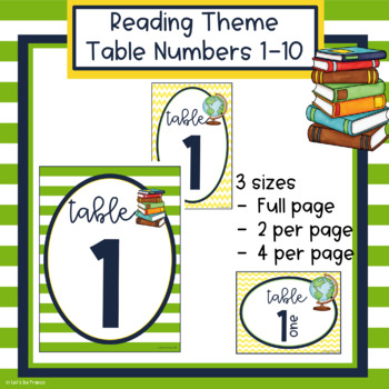 Reading Theme Table Numbers 1-10
