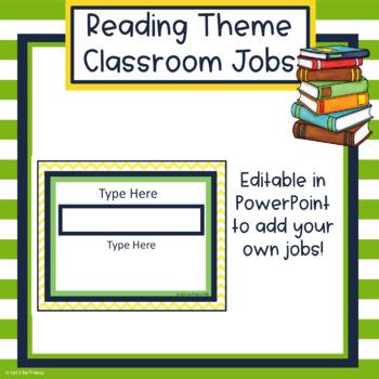 Reading Theme Upper Elementary Classroom Jobs - Editable