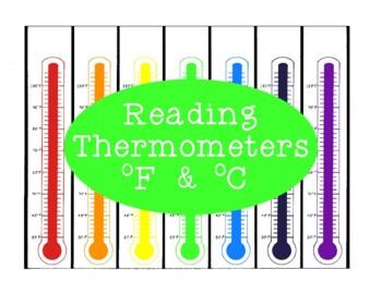 Reading Thermometers Activity PDF Measurement Celsius Fahrenheit