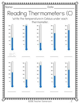Reading Thermometers Worksheet by Teacher Gameroom   TpT