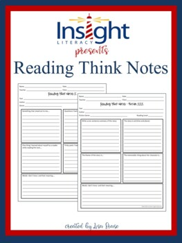Reading Think Notes for Fiction, Nonfiction, & Poetry