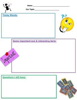 Reading Thinking Strategies Graphic Organizer