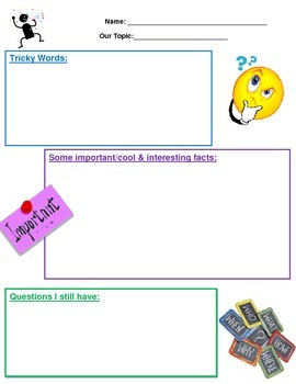 Reading Thinking Strategies Graphic Organizer