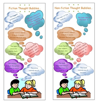 Reading Thought Bubbles Anchor Charts and Bookmarks for Common Core Practice