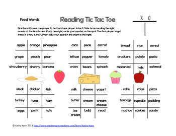 Reading Tic Tac Toe Common Words