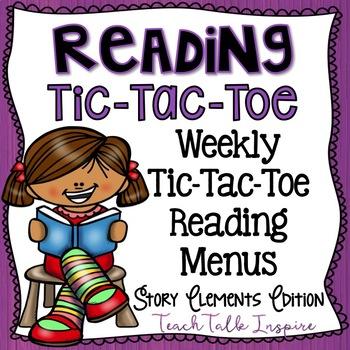 Reading Tic Tac Toe Menu-Story Elements Edition