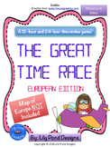 Reading Time Review Game - The Great Time Race (Europe- in MILES)