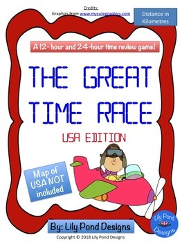 Reading Time Review Game - The Great Time Race (USA - in Kilometres)