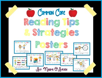 Reading Tips & Strategies Posters (Meets Common Core Standards)