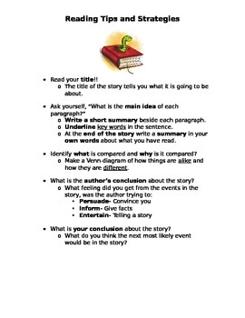 Reading Tips and Strategies Printable