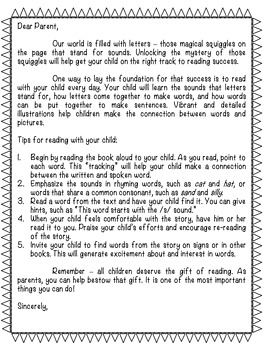 EDITABLE Parent Letter: Tips for Reading With Your Child