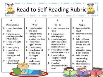 Reading To Self Self Assessment Rubric