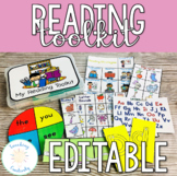 K, 1, 2 Grade Printable Reading Toolkit with EDITABLE Spinners