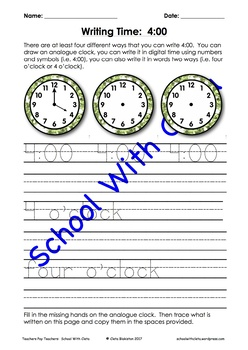 Reading, Tracing & Writing Time In Four Different Ways: The O'Clocks (eg 11:00)