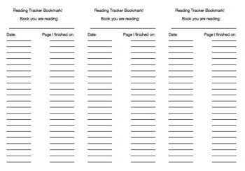 Reading Tracker Bookmark (All Ages, Skill Levels)