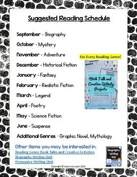 Reading Tracker for Independent Reading ELA-Reading Genres