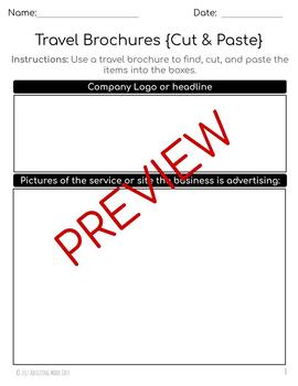 Reading Travel Brochures Life Skills Worksheets {Cut & Paste} Special Education