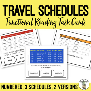 Reading Travel Schedules Task Clip Cards Life Skills