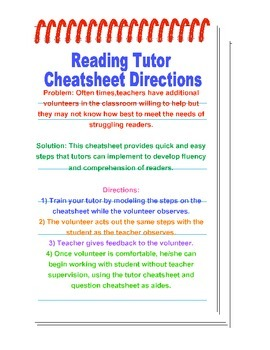 Reading Tutor Cheatsheet Bookmarks