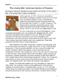 Reading & U.S. History Lesson THE LIBERTY BELL + 20 Comprehension/ Vocabulary Qs