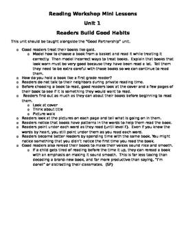 Reading Unit 1 Mini Lessons - Readers Build Good Habits