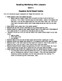 Reading Unit 1 Mini Lessons - Readers Build Good Habits