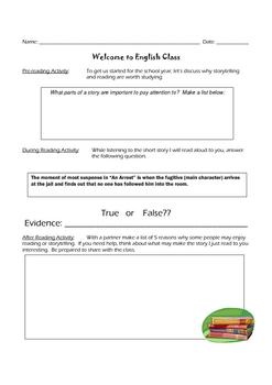Reading Unit/Short Story Unit Starter Activity