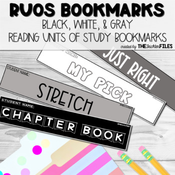 Reading Units of Study (RUOS) Bookmarks (Lucy Calkins Reading Workshop) B&W
