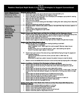 Reading Units of Study and Teaching Points Yearlong