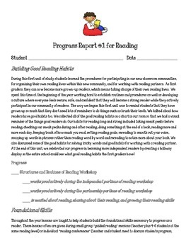 Reading Units of Study for First Grade: Unit 1 Parent Progress Report