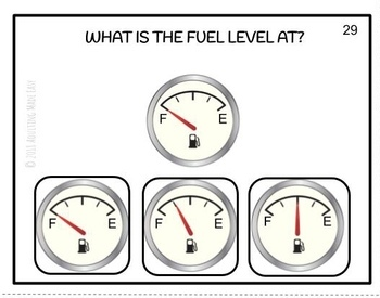 Reading Vehicle Gauges Task Cards - Tire Pressure, Fuel, Speedometer