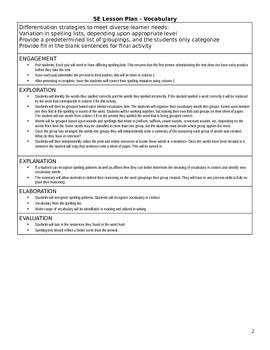 Reading Vocabulary 5E Lesson Plan