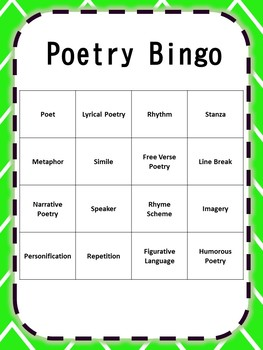 Reading Vocabulary Bingo Bundle {Poetry, Drama, Figurative Language}