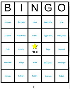 Reading Vocabulary Bingo  Grade 5