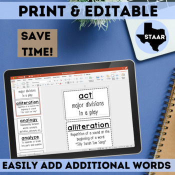 STAAR Reading Vocabulary Cards