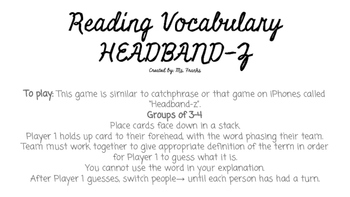 Reading Vocabulary Headband-Z