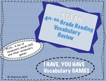 STAAR Reading Vocabulary I Have; You Have Review Game (4-6 grade)