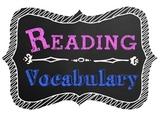 Reading Vocabulary Poster Chalkboard Theme