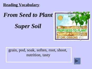 Reading Vocabulary Power Point for From Seed to Plant 2nd grade