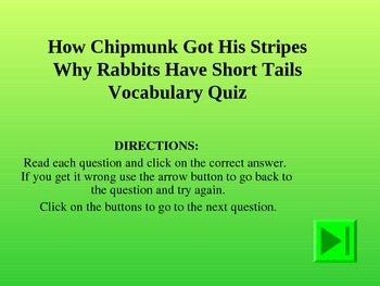 Reading Vocabulary Power Point for How Chipmunk Got His Stripes