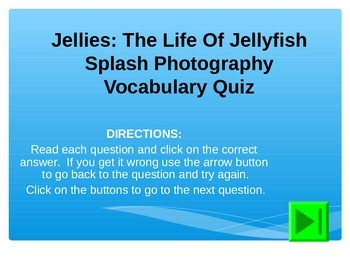 Reading Vocabulary Power Point for Jellies: The Life of Jellyfish