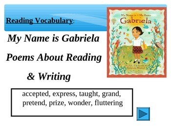 Reading Vocabulary Power Point for My Name is Gabriela