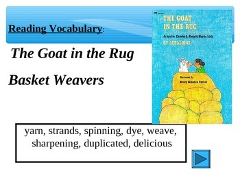 Reading Vocabulary Power Point for The Goat in the Rug 2nd grade
